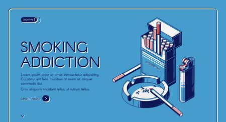 Smoking addiction isometric landing page, cigarettes in package, ashtray and lighter, tobacco nicotine product web banner design on blue background. Bad unhealthy habit. 3d vector line artillustration
