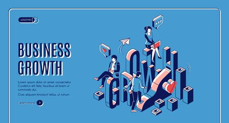 Business growth isometric landing page. Businesspeople work in internet using gadgets climbing up by growing data chart. Marketing strategy, startup boost. 3d vector line art illustration, web banner