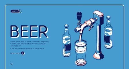 Beer tap isometric landing page, alcohol drink pouring from faucet with handle to glass in bar or pub. Craft brew advertising poster on blue retro colored background. 3d vector line art illustration Illusztráció