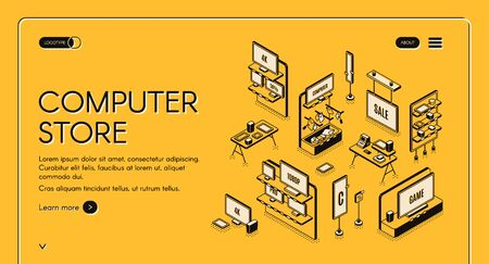 Computer store isometric landing page. Empty mall interior with electronic production on shelves, game panels, monitors and gadgets for gaming, counter desk 3d vector line art illustration, web banner