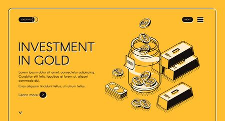 Investment in gold isometric landing page, dollar coins fall to glass jar with golden bars around, invest fund for increase money business, asset allocation 3d vector illustration, line art web banner Illusztráció