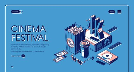 Cinema festival isometric landing page, movie time entertainment concept with popcorn, 4K film projector, 3d glasses, tickets and coffee cup on blue background. Vector illustration line art web banner