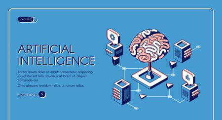 Artificial intelligence isometric landing page human brain surrounded with cubic shape AI processor chips with digital neurons network. Future innovation 3d vector illustration, line art web banner 矢量图像