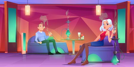 People in shisha bar, man and woman smoking hookah sitting on comfortable couches, drinking beverages. vector illustration