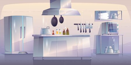 Kitchen in restaurant, empty interior with appliances for cooking and furniture table, oven, range hood, refrigerator and metal utensil. Canteen with technique, equipment. Cartoon vector illustration