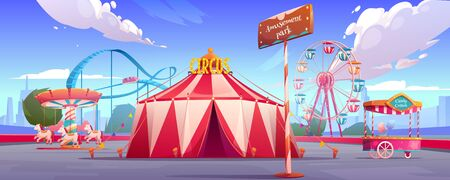 Amusement carnival park with circus tent, ferris wheel, roller coaster, merry-go-round carousel and candy cotton booth Festive fair and recreation entertainment attractions Cartoon vector illustration Vectores