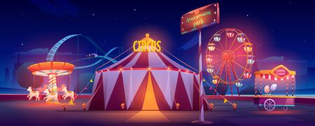 Amusement park at night. Carnival circus tent, ferris wheel, roller coaster, carousel and candy cotton booth with glow illumination. Festive fair entertainment attractions. Cartoon vector illustration Illustration