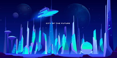 City of future at night in neon lights. Spaceship flying above futuristic cityscape with glowing illumination. Modern town buildings exterior architecture in blue colors. Cartoon vector illustration