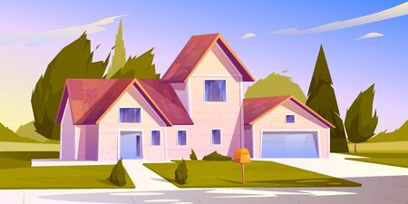 Suburban house, residential cottage, real estate countryside building exterior. Two storey dwelling place with garage. Home facade with garden and green lawn in front yard. Cartoon vector illustration 일러스트