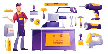 Tools set, hardware construction shop friendly salesman, counter desk with cashier, diy instruments for carpentry works and supplies isolated on white background. Cartoon vector illustration, clip art