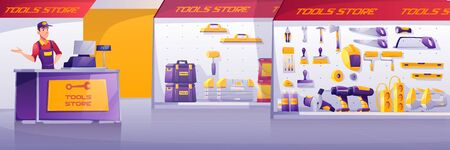 Tools store, hardware construction shop interior with salesman stand on counter desk presenting showcases with diy instruments on shelves for carpentry and building works Cartoon vector illustration