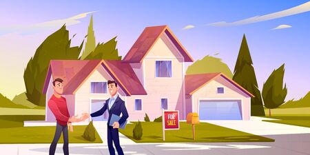 House sale deal. Realtor shaking hand with home owner standing at front yard of residential building, smiling agent conducting real estate transaction. Man sell cottage. Cartoon vector illustration
