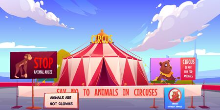 Circus without animals, stop pets abuse concept. Amusement carnival park with agitational posters and signboards against performances and clown shows with alive beasts. Cartoon vector illustration
