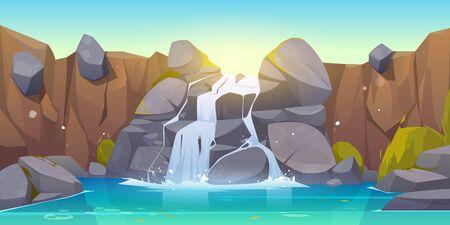 Ilustración de dibujos animados de cascada. La corriente del río que fluye arroja rocas al lago de la montaña. Paisaje de vector de cascada de agua que cae, piedras y arbustos en el parque, selvas o jardines