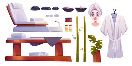 Spa salon set, equipment and furniture for applying beauty and body care procedures. Woman face with towel turban and mask. Couch, candles aroma oil stones bath robe bamboo Cartoon vector illustration
