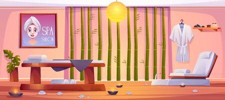 Spa-Salon-Interieur, leerer Raum mit professioneller Ausrüstung und Möbeln. Saubere Bettwäsche, die auf Massageliege und Stuhl liegt, mit brennenden Kerzen herum, Bambusstöcke an der Wand. Cartoon-Vektor-Illustration