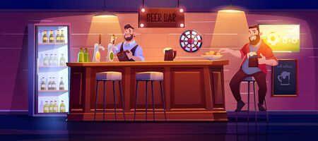 Man in beer bar. Visitor at pub sit on stool at wooden desk eating chips, barman pouring drink from tap to glass, menu board, darts tv with football match and muffled light Cartoon vector illustration