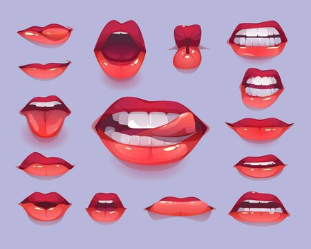 Woman mouth set. Red sexy lips expressing different emotions as happy smiling, seduction, show tongue, kiss, surprising, disgust. Design elements, icons, stickers. Cartoon vector illustration clip art