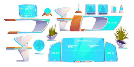 Futuristic classroom stuff set. Modern furniture and supplies isolated on white background. Neon digital blackboard, hologram computer monitor, technological desks, plants. Cartoon vector illustration