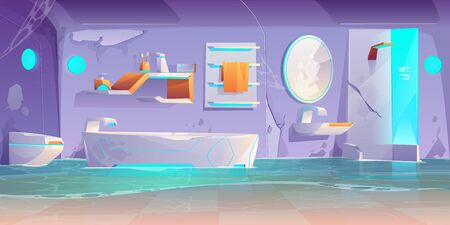 Abandoned futuristic bathroom, flooded room with broken furniture and stuff, spiderweb, cracked wall, neon glowing bath tub, shower cabin and washbasin, crashed modern home Cartoon vector illustration Stock Illustratie