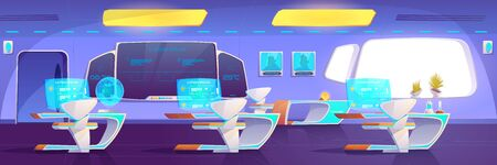 Modern classroom with futuristic furniture and supplies. Empty studying area on space ship with digital blackboard, hologram monitors on desks, neon glowing illumination. Cartoon vector illustration
