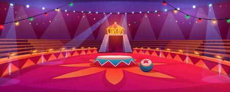Arena del circo, classico palcoscenico rotondo sotto la cupola del tendone con sedili, ghirlande e faretti. Tenda vuota dell'anello di carnevale nel parco a tema per famiglie di divertimenti, spettacolo di intrattenimento Cartoon illustrazione vettoriale