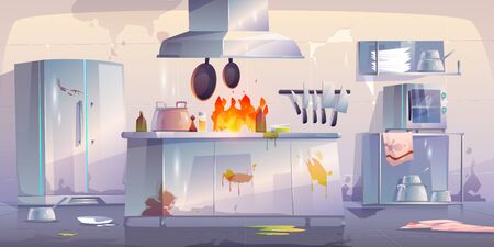 Damaged kitchen in restaurant, empty interior with fire, crashed cooking appliances and furniture, burning oven, cracked wall. Canteen with broken dirty technique equipment Cartoon vector illustration Vectores