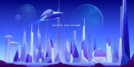 Urban landscape of future city with modern buildings, planets in night sky and flying spaceship. Vector futuristic cityscape with skyscrapers and rocket. Illustration of cyberpunk town Stock Illustratie