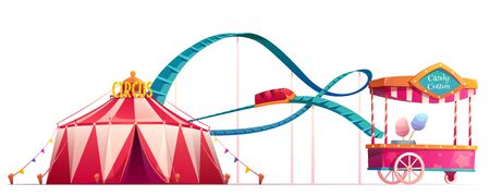 Carnival funfair with circus tent, roller coaster and candy cotton cart. Vector cartoon illustration of summer amusement park isolated on white background
