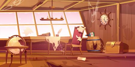 Abandoned pirate ship cabin. Vector cartoon illustration of empty destroyed interior of old wooden room with broken furniture and windows, messy walls with spiderweb. Scary Halloween background