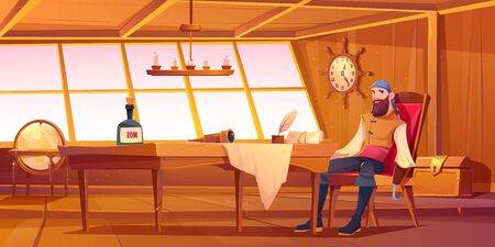 Pirate captain in ship cabin. Vector cartoon illustration of wooden room interior, man with beard and hook instead of hand, treasure chest and table with bottle of rum, map and spyglass