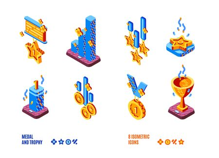 Medal and trophy isometric icons set. Golden goblets, cups, stars and charts on wooden pedestals, winners awards for first place in sports or business corporate competition. 3d vector illustration Illustration