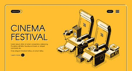 Cinema festival isometric landing page, movie attributes chairs with popcorn, 3d glasses, tickets, cups, film projector with cd disks on yellow background. Vector illustration, line art web banner