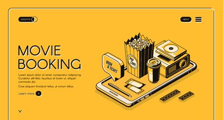 Movie booking isometric landing page, entertainment concept with popcorn, film projector, tickets and coffee cup at smartphone screen on yellow background. 3d vector illustration, line art web banner Illustration