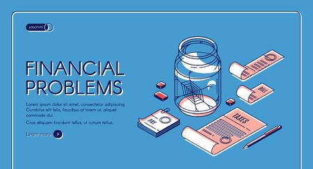 Financial problems isometric landing page. Pay bills and taxes documents lying around empty glass jar with spiderweb inside. Money crisis, need, bankruptcy 3d vector, line art illustration, web banner