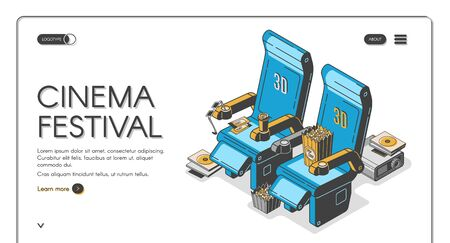 Cinema festival isometric web banner movie chairs with popcorn box, 3d glasses, ticket, coffee cup, film projector with cd disk on retro colored background. Vector illustration, line art, landing page