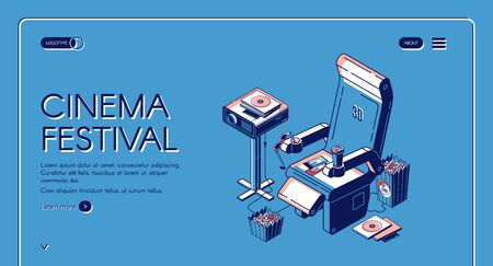Cinema festival isometric landing page. Film projector stand near chair with popcorn, 3d glasses, tickets and cup on blue background. Movie time entertainment. Vector illustration, line art web banner