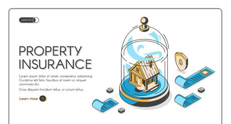 Property insurance isometric landing page. Real estate building stand under glass dome with pay bills and shield around. Home accident protection service 3d vector illustration line art web banner Stock Illustratie