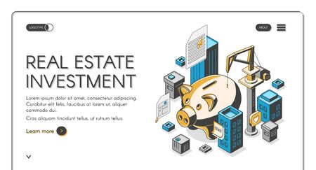 Real estate investment isometric landing page, huge piggy bank surrounded with skyscrapers and building crane, invest fund increase money finance business. 3d vector illustration, line art web banner