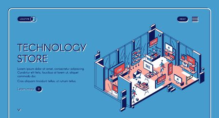 Technology store isometric landing page. Empty mall interior with electronic production, computer game panels, 4K tv monitors, gaming gadgets, counter desk 3d vector line art illustration, web banner Illustration