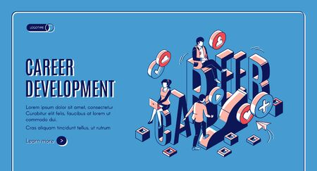 Career development isometric landing page. Marketing strategy, startup boost. Businesspeople work in internet using gadgets climb up by growing data chart. 3d vector line art illustration, web banner 일러스트