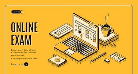 Bannière web isométrique d'examen en ligne. Ordinateur portable avec des questions de test à l'écran. Application informatique pour l'examen des étudiants avec formulaire de questionnaire, tâche d'enseignement à distance. Page de destination de vecteur 3D dans le style d'art en ligne