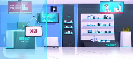 Pharmacy interior, drugstore with medical products on shelves. Vector cartoon illustration of empty modern pharmaceutical shop with counter, digital display showing advertising of pills