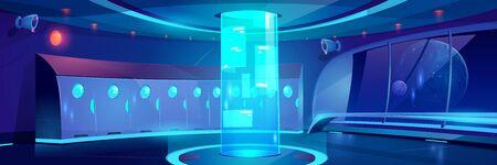 Interior del pasillo de la escuela futurista en la noche. Fondo de dibujos animados de vector de pasillo vacío con casilleros y holograma redondo con anuncios en la universidad, la universidad en la nave espacial