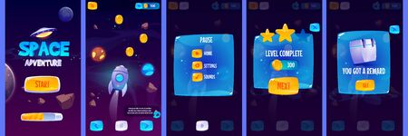Graphic user interface for space adventure game. Vector set of gui app screens with glossy menu buttons and icons, panel with pause and reward, start banner and futuristic background with rocket