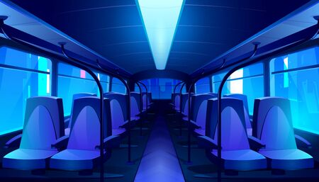 Empty bus interior at night. Vector cartoon passenger cabin of public city transport with blue seats and urban landscape behind a window. School autobus, tram or train inside