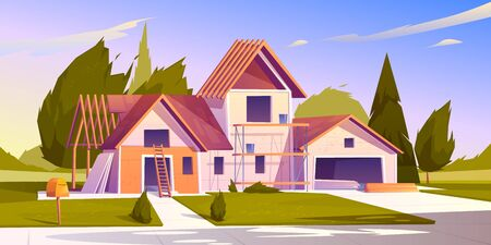 Unfinished house construction. Vector cartoon illustration of construction site, incomplete building of garage and home with wooden frame of roof beams Stock Illustratie