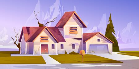 Adandoned old house with broken roof and boarded up windows. Vector cartoon illustration of derelict dilapidated home, forgotten ramshackle building on mountains landscape