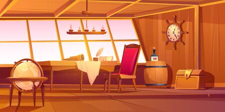 Pirate capitan ship cabin. Vector cartoon illustration of wooden room interior, globe, treasure chest and table with bottle of rum, map and spyglass on table Illustration