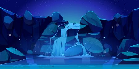 Waterfall at night cartoon illustration. River stream flowing through rocks to mountain lake. Vector landscape of cascade falling water, stones, starry sky and moonlight